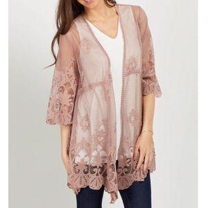 Pink blush lace kimono